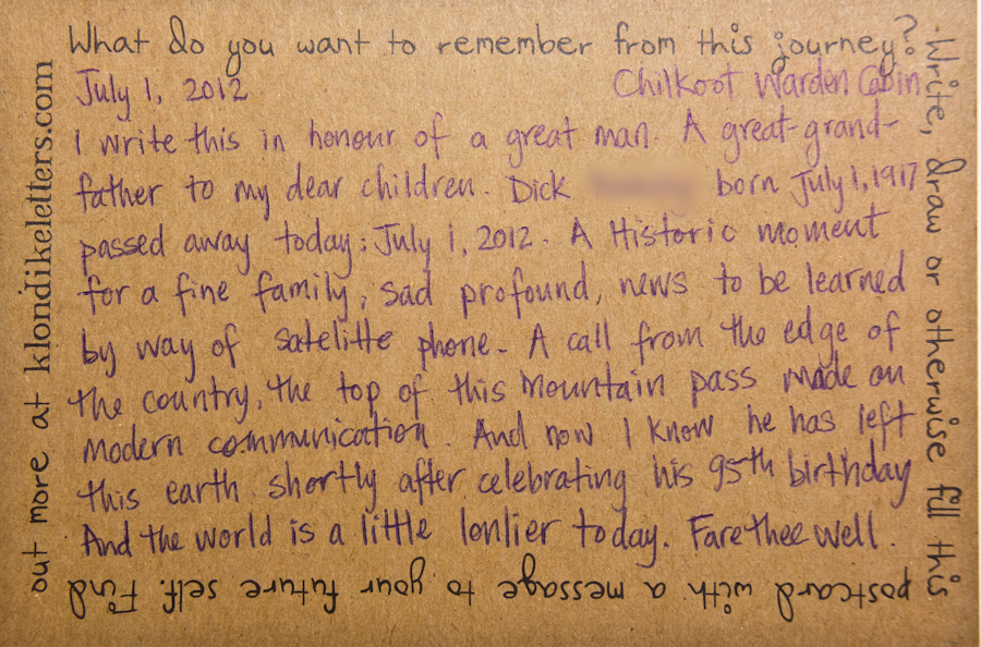I write this in honor of a great man. A great-grand-father to my dear children. Born July 1,1917, passed away today: July 1,2012. A Historic moment for a fine family. Sad profound news to be learned by way of satellite phone. A call from the edge of the country the top of this mountain pass made on modern communication. And now I know he has left this earth shortly after celebrating his 95th birthday. And the world is a little lonelier today. Fare thee well.